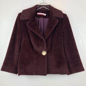 Jackets & Blazers - David Rodriquez Burgundy Faux Fur Jacket sz 10 L1